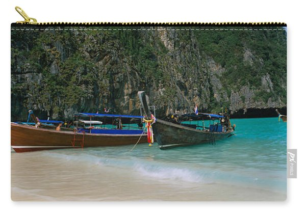 Longtail Boats Moored On The Beach, Ton Carry-all Pouch