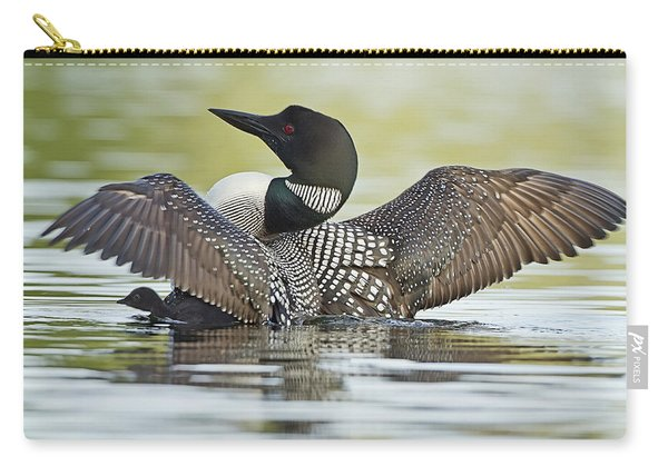 Loon Wing Spread With Chick Carry-all Pouch
