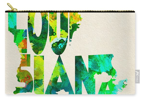 Louisiana Typographic Watercolor Map Carry-all Pouch