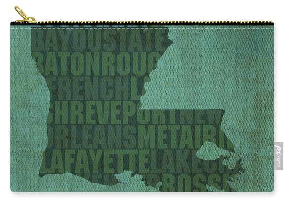 Louisiana Word Art State Map On Canvas Carry-all Pouch