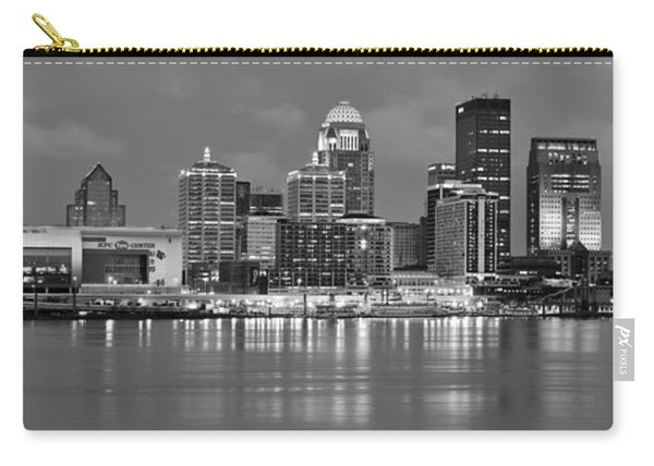 Louisville Skyline At Dusk Sunset Bw Black And White Panorama Kentucky Carry-all Pouch