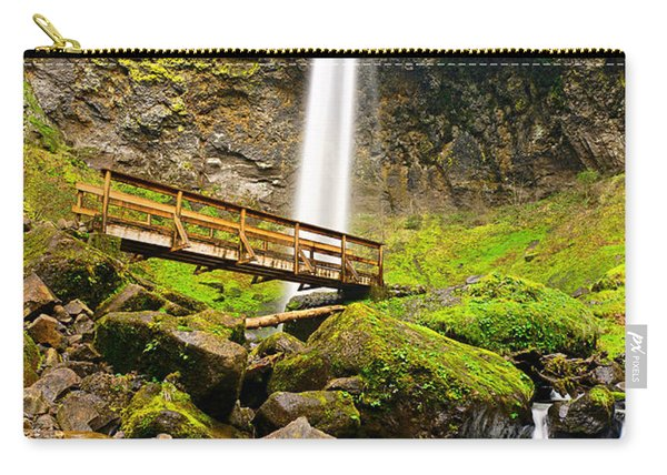 Lower Angle Of Elowah Falls In The Columbia River Gorge Of Oregon Carry-all Pouch