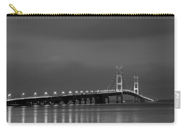 Mackinac Bridge Black And White Carry-all Pouch