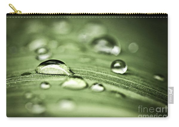 Macro Raindrops On Green Leaf Carry-all Pouch