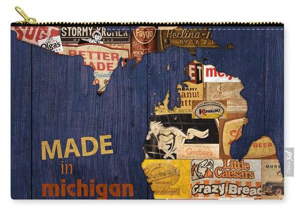 Made In Michigan Products Vintage Map On Wood Carry-all Pouch