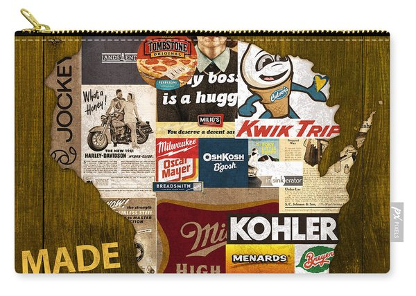 Made In Wisconsin Products Vintage Map On Wood Carry-all Pouch