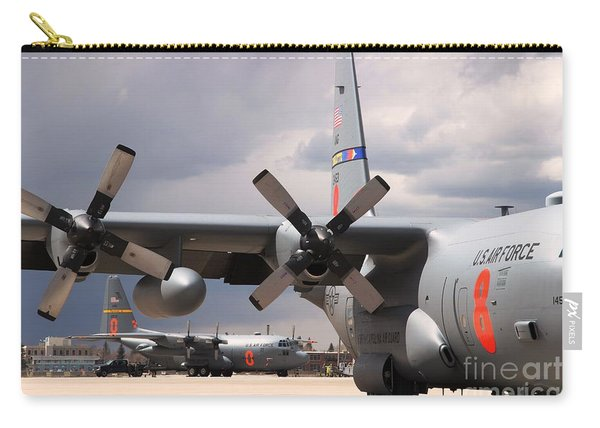 Carry-all Pouch featuring the photograph Maffs C-130s At Cheyenne by Bill Gabbert