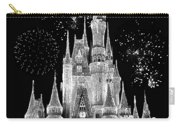 Magic Kingdom Castle In Black And White With Fireworks Walt Disney World Carry-all Pouch