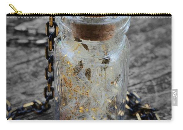 Make A Wish - Dandelion Seed In Glass Bottle With Gold Fairy Dust Necklace Carry-all Pouch