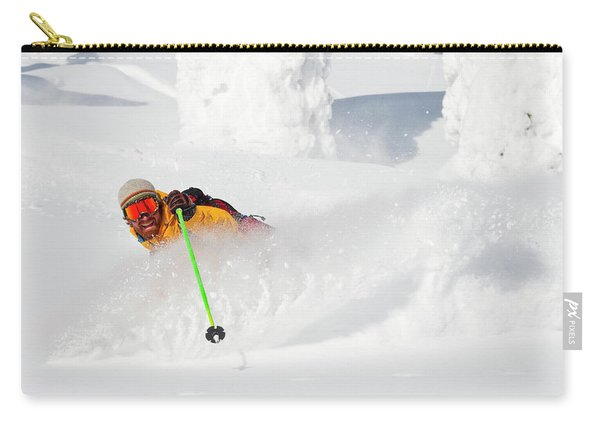 Male Skier Makes A Deep Powder Turn Carry-all Pouch