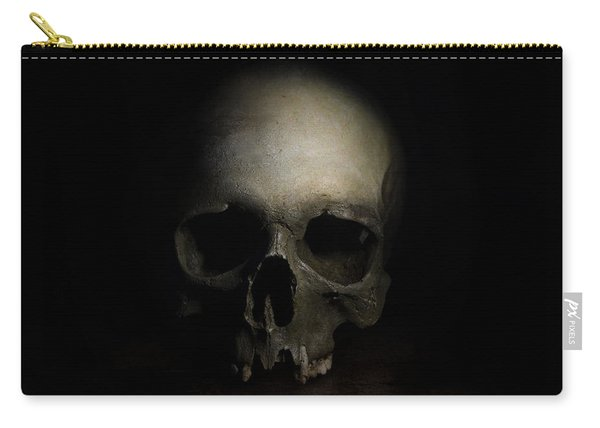 Carry-all Pouch featuring the photograph Male Skull by Jaroslaw Blaminsky