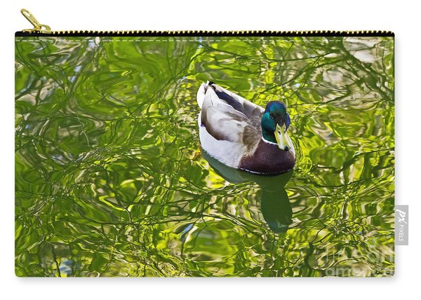 Mallard In Green Carry-all Pouch