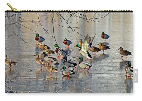 Mallards On A Frozen River Carry-all Pouch