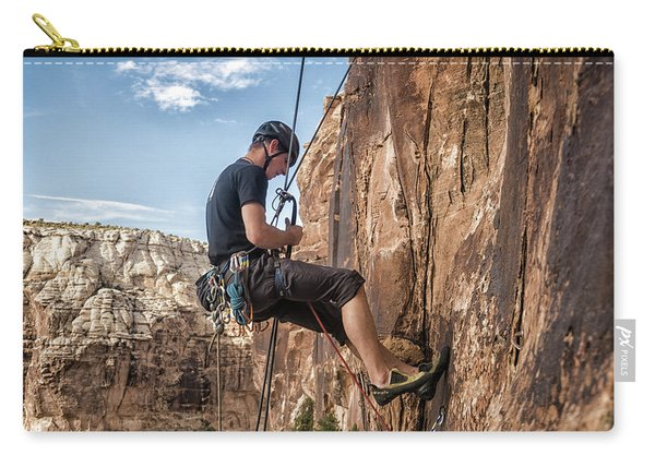 Man Climbing Route In Sandstone Carry-all Pouch
