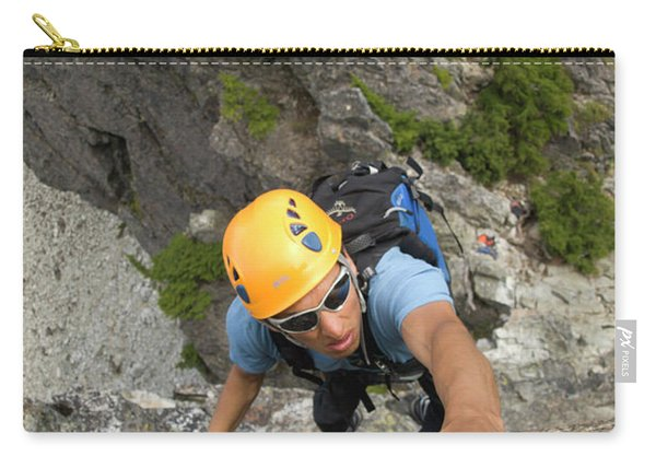 Man Free Climbs A Wall In Washington Carry-all Pouch