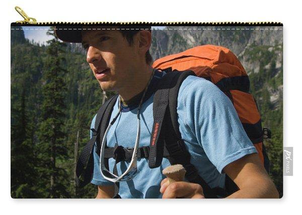 Man Hike With Mountain In Background Carry-all Pouch