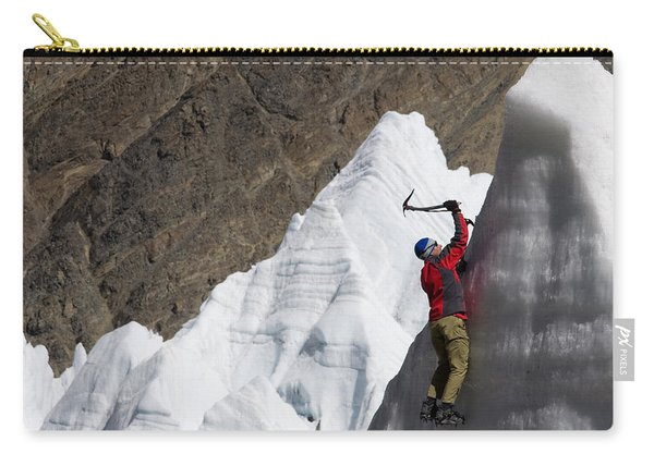 Man Ice Climbing On Glacier, Tibet Carry-all Pouch