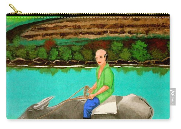 Man Riding A Carabao Carry-all Pouch