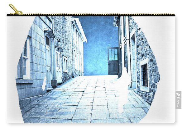 Man's Profile Silhouette With Old City Streets Carry-all Pouch