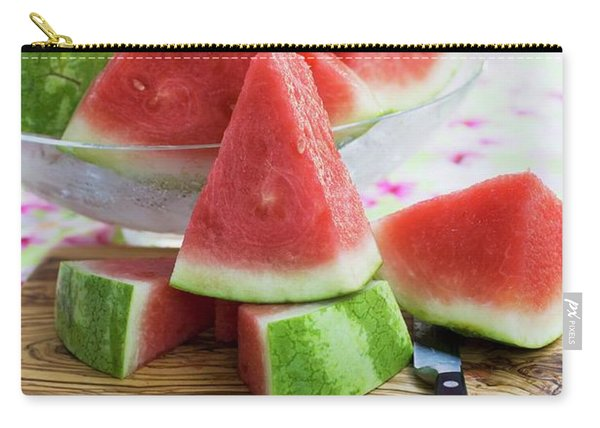 Many Pieces Of Watermelon In A Glass Bowl Carry-all Pouch