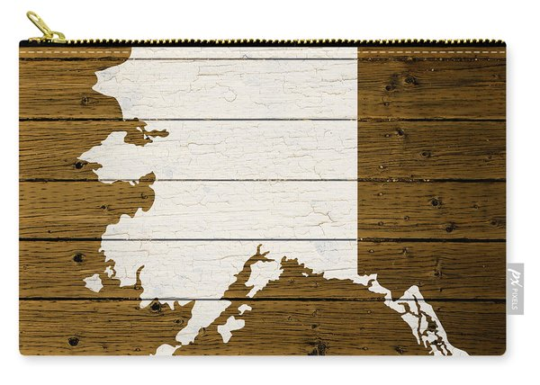 Map Of Alaska State Outline White Distressed Paint On Reclaimed Wood Planks. Carry-all Pouch