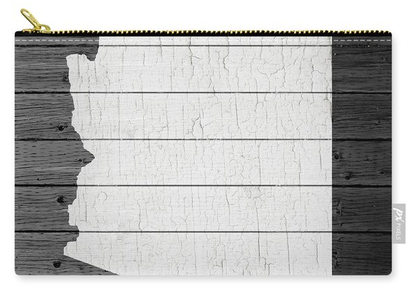 Map Of Arizona State Outline White Distressed Paint On Reclaimed Wood Planks Carry-all Pouch
