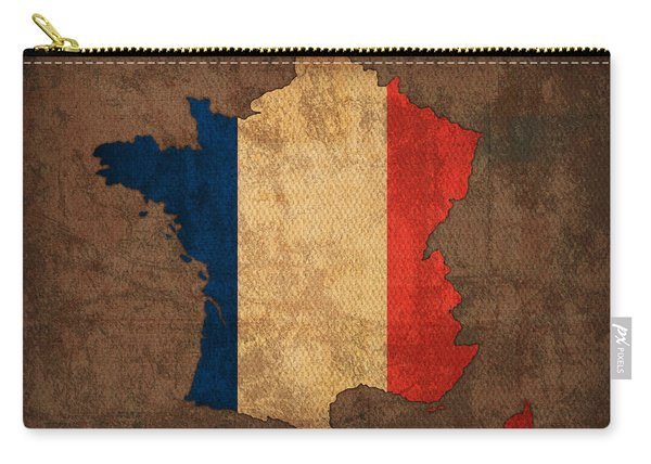 Map Of France With Flag Art On Distressed Worn Canvas Carry-all Pouch