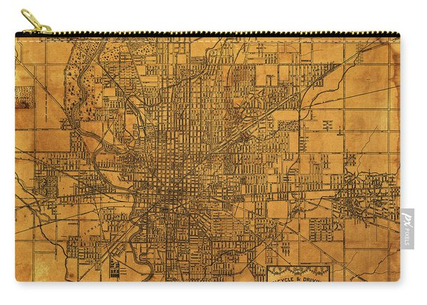 Map Of Indianapolis Vintage Bicycle And Driving Street Diagram On Weathered Parchment Carry-all Pouch