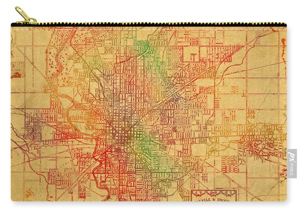 Map Of Indianapolis Vintage Bicycle And Driving Watercolor Street Diagram Painting On Parchment Carry-all Pouch