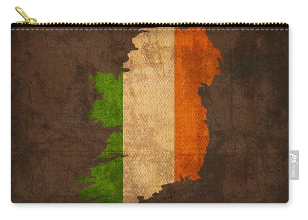Map Of Ireland With Flag Art On Distressed Worn Canvas Carry-all Pouch