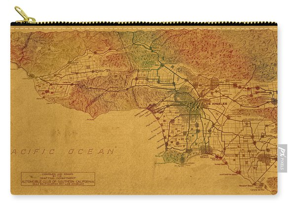 Map Of Los Angeles Hand Drawn And Colored Schematic Illustration From 1916 On Worn Parchment Carry-all Pouch