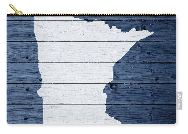 Map Of Minnesota State Outline White Distressed Paint On Reclaimed Wood Planks Carry-all Pouch