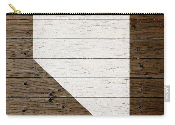 Map Of Nevada State Outline White Distressed Paint On Reclaimed Wood Planks Carry-all Pouch