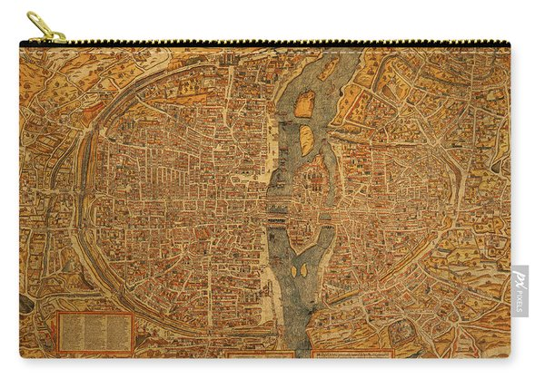 Map Of Paris France Circa 1550 On Worn Canvas Carry-all Pouch