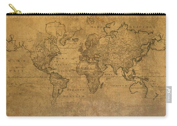 Map Of The World In 1784 Latin Text On Worn Stained Vintage Parchment Carry-all Pouch
