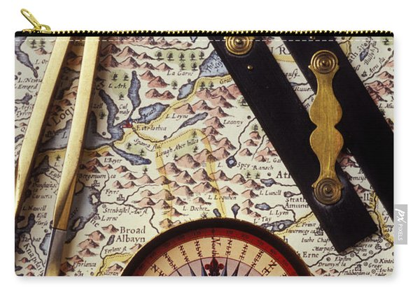 Map With Compass Tools Carry-all Pouch