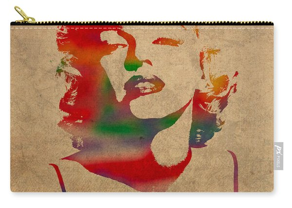 Marilyn Monroe Watercolor Portrait On Worn Distressed Canvas Carry-all Pouch