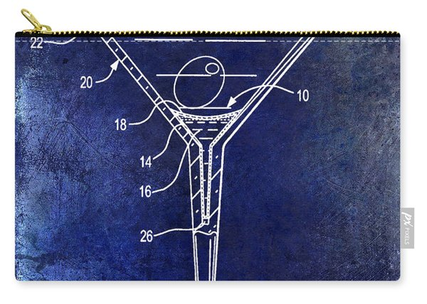 Martini Glass Patent Drawing Blue Carry-all Pouch