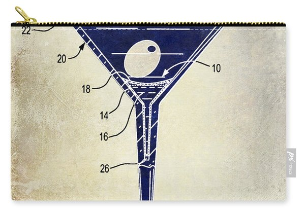Martini Glass Patent Drawing Two Tone  Carry-all Pouch