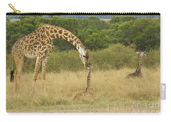 Masai Giraffe With Young Carry-all Pouch
