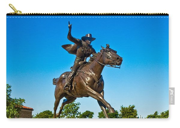 Carry-all Pouch featuring the photograph Masked Rider Statue by Mae Wertz