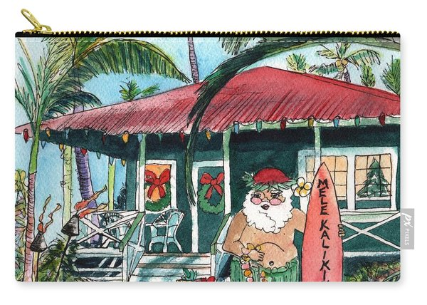 Mele Kalikimaka Hawaiian Santa Carry-all Pouch