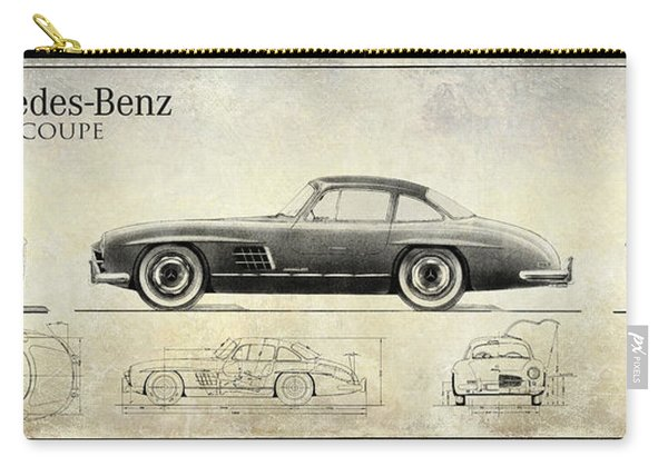 Mercedes 300sl Blueprint Drawing A Carry-all Pouch