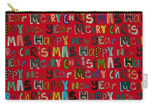 Merry Christmas Happy New Year Red Carry-all Pouch