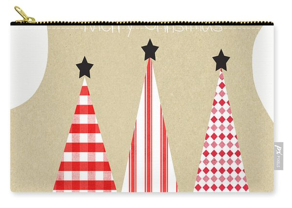 Merry Christmas With Red And White Trees Carry-all Pouch