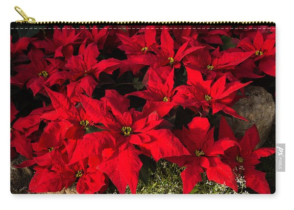 Merry Scarlet Poinsettias Christmas Star Carry-all Pouch