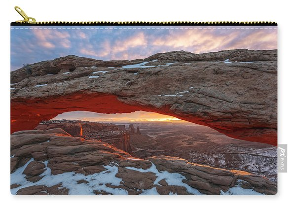 Carry-all Pouch featuring the photograph Mesa Arch Sunrise by Dustin  LeFevre
