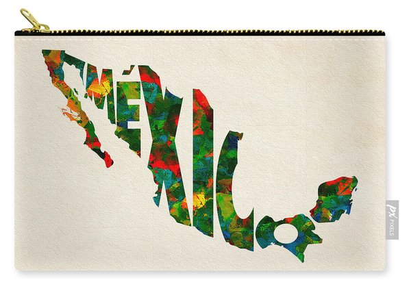 Mexico Typographic Watercolor Map Carry-all Pouch