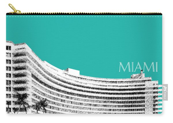 Miami Skyline Fontainebleau Hotel - Teal Carry-all Pouch
