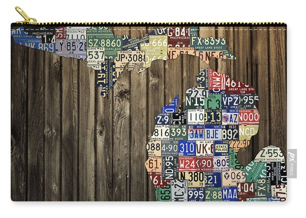 Michigan Counties State License Plate Map Carry-all Pouch